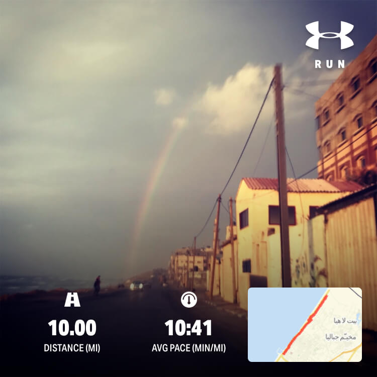 Gaza running route, including photo of Beach camp