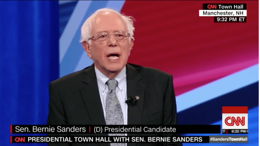 Senator Bernie Sanders speaking at a CNN town hall in New Hampshire on Monday, April, 22, 2019.