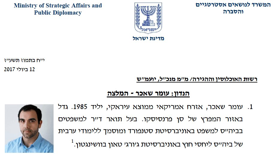 Document from an Israeli government compiled dossier on Human Rights Watch's Israel and Palestine country director Omar Shakir. (Image: Human Rights Watch)
