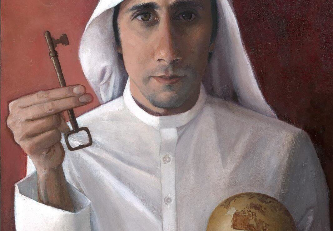 "Palestinian ""Salvador Mundi"" by Katie Miranda. For her show at the Jerusalem Fund's Gallery Al-Quds in October 2019. Image courtesy of the painter."