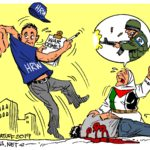 Israel expelling Human Rights Watch representative from Israel (Cartoon: Carlos Latuff)
