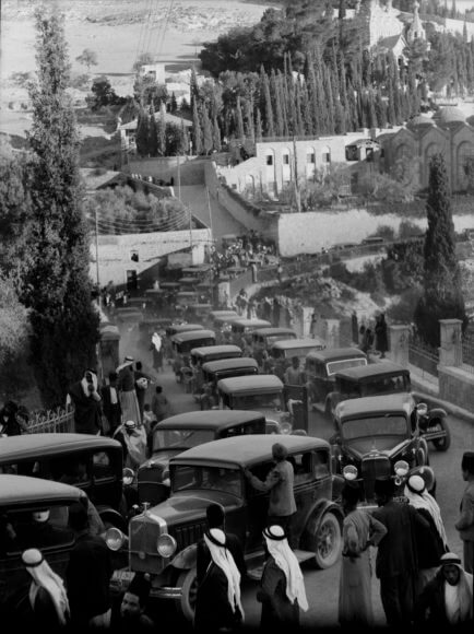 Photograph labelled 'Arab demonstrations on Oct. 13 and 27, 1933. In Jerusalem and Jaffa. Return of Grand Mufti from India. Met by hundreds of cars at Gethsemane, Nov. 17, 1933.'
