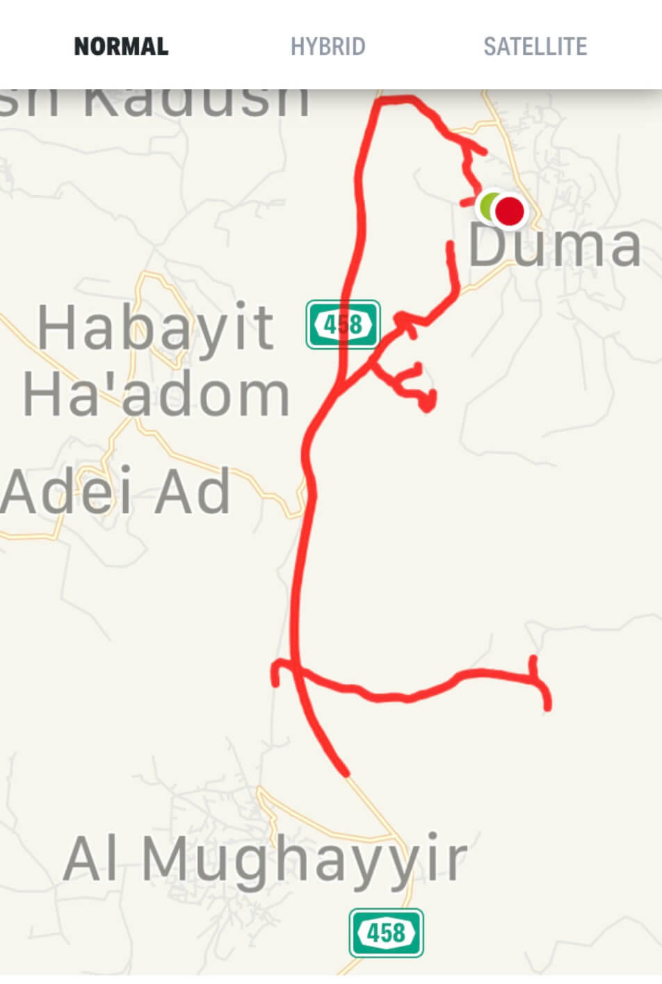 Route of Marlowe's training run from Duma to Mughayyir.