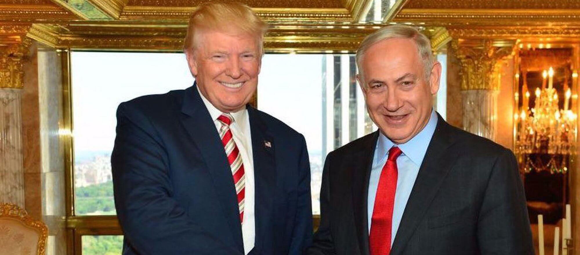 Donald Trump and Benjamin Netanyahu meeting in Trump Tower in New York in 2016.