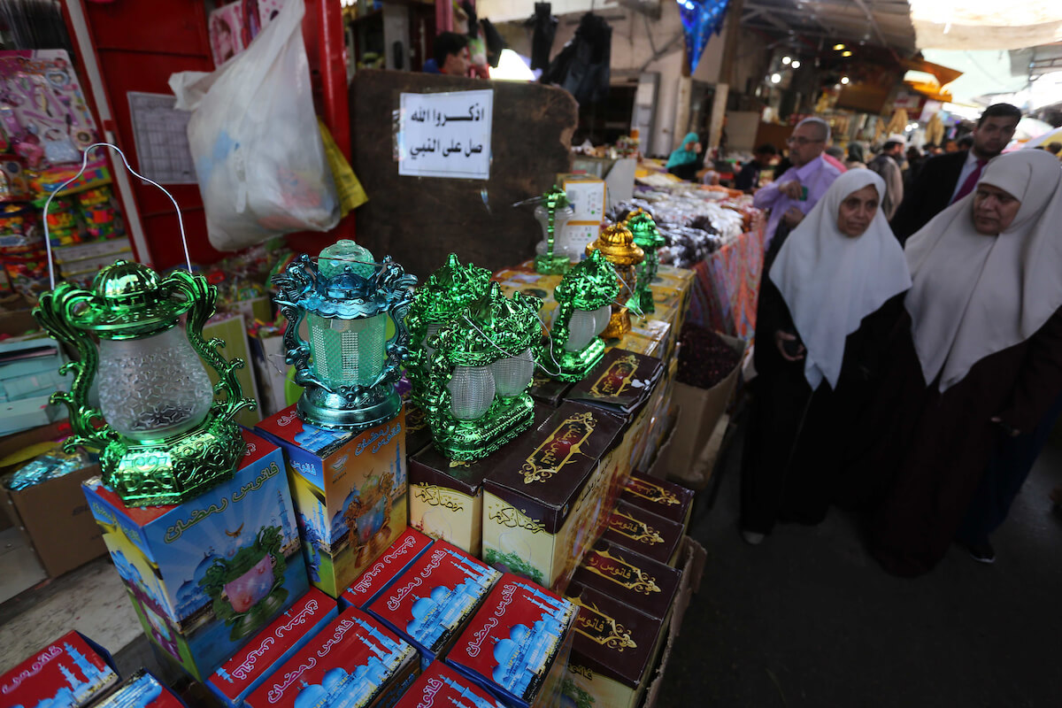 Palestinians shop at a market during the Islamic holy month of Ramadan, in Gaza city on 07 May 2019. Muslims around the world celebrate the holy month of Ramadan by praying during the night time and abstaining from eating, drinking, and sexual acts during the period between sunrise and sunset. Photo by Ashraf Amra