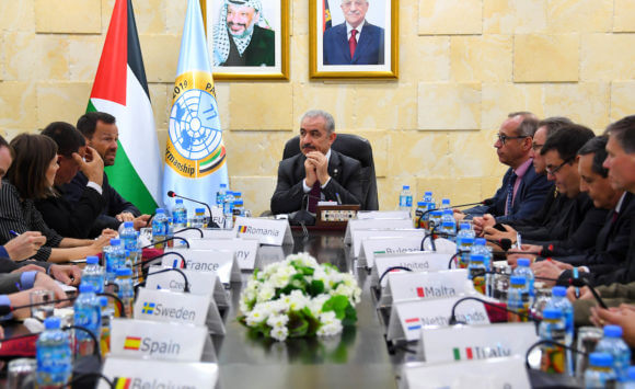 Palestinian Prime Minister Mohammad Ishtayeh meets with Consuls and representatives of the European Union in the West Bank city of Ramallah, April 16, 2019. (Photo by the Prime Minister's Office)