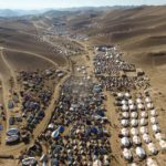 Drone footage of displaced family tents in one settlement in Badghis, Afghanistan, due to ongoing drought and climate change. There are thousands of makeshift homes spread between mountain hills on the outskirt of Qala-i-naw city. (Photo: Norwegian Refugee Council/Enayatullah Azad)