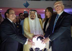 From left, President Abdel Fattah el-Sisi of Egypt, King Salman of Saudi Arabia, Melania Trump and President Trump during the opening of an anti-extremist center in Riyadh, Saudi Arabia. (Photo: Saudi Press Agency)