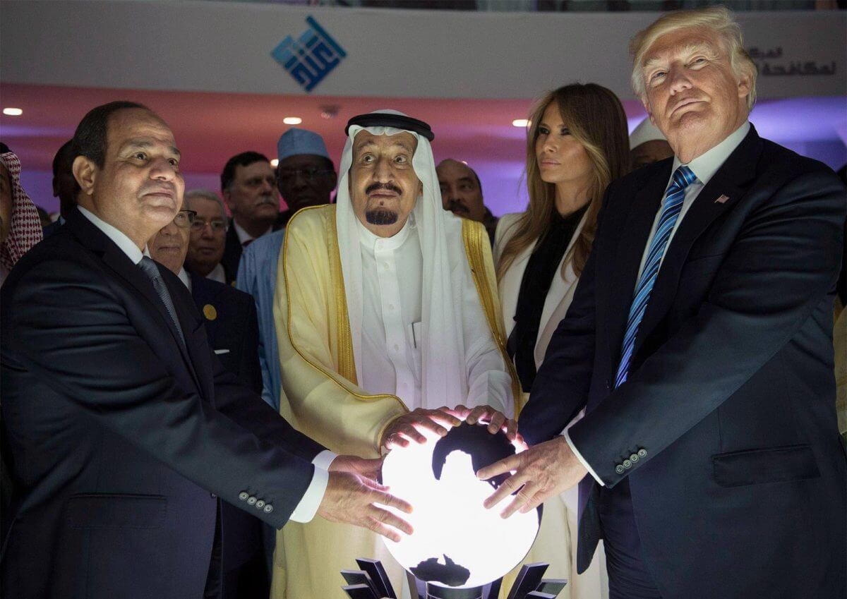 From left, President Abdel Fattah el-Sisi of Egypt, King Salman of Saudi Arabia, Melania Trump and President Trump during the opening of an anti-extremist center in Riyadh, Saudi Arabia. (Photo: Saudi Press Agency)