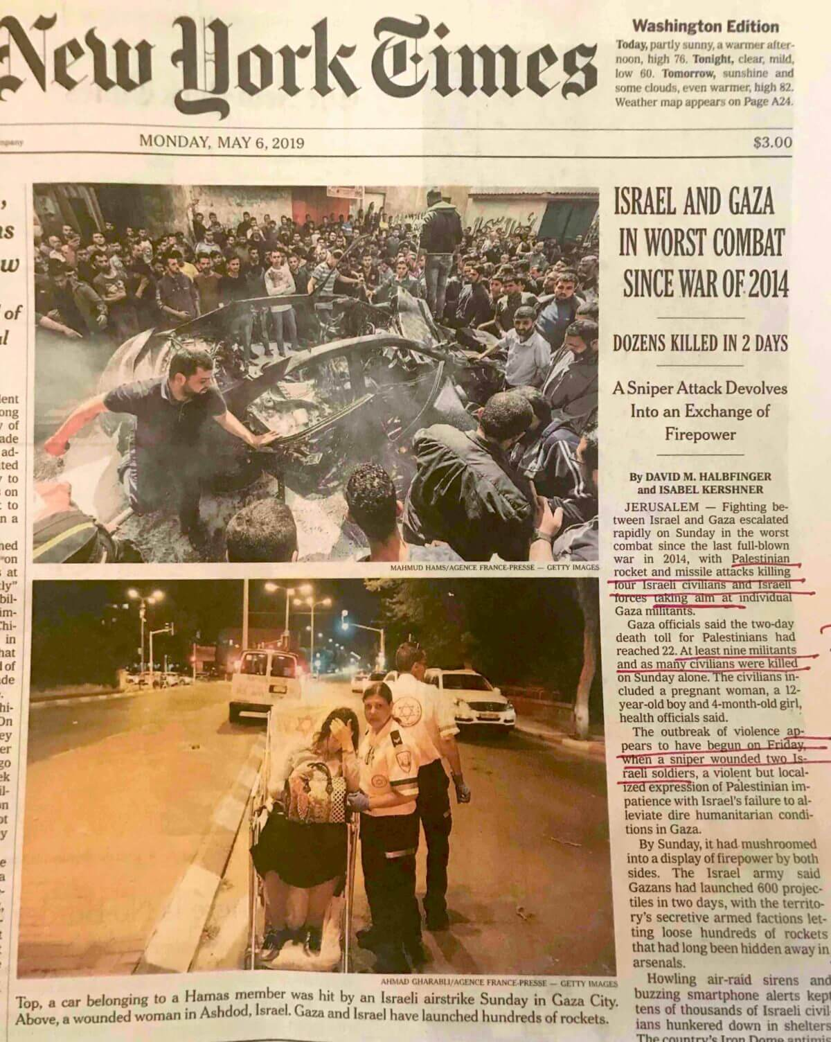 Militants in Gaza vs. civilians in Israel on the front page of the New York Times.