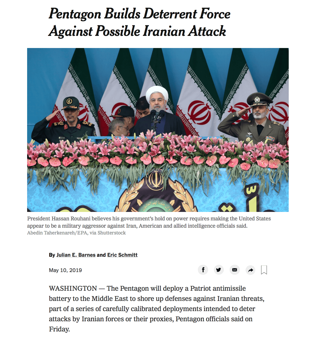 How the New York Times is covering US-Iran relations . . .