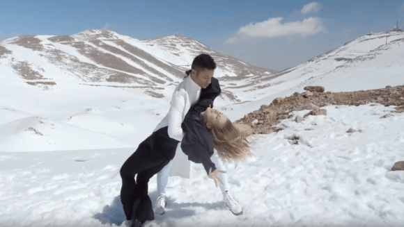 The Romanian entry to the 2019 Eurovision Song Contest shown during their intro video on Mount Hermon in the occupied Golan Heights.