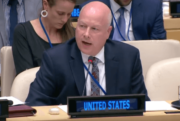 Jason Greenblatt addresses the UN in May 2019 about the US peace plan.