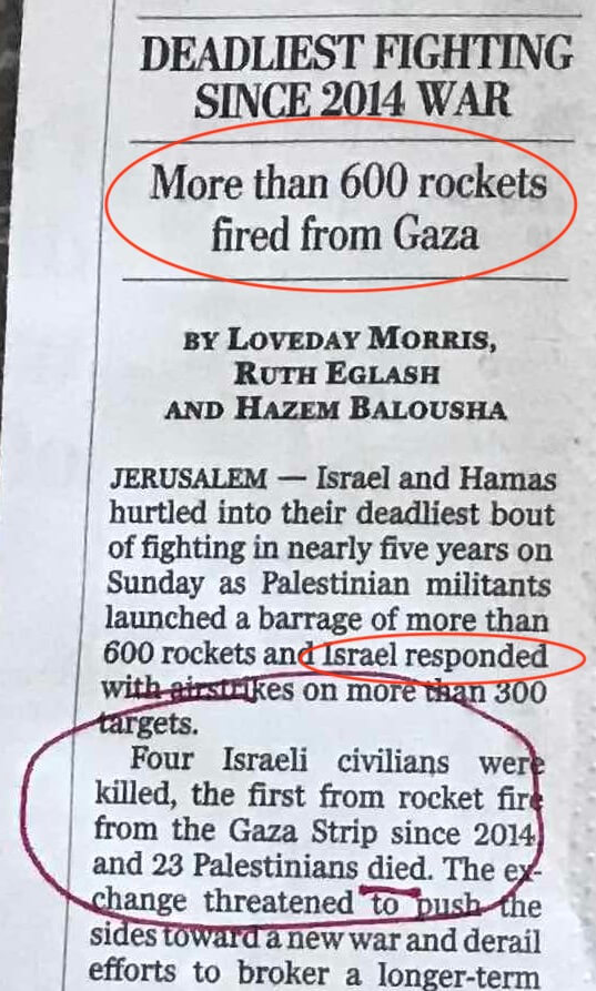 From the Washington Post on May 6, 2019, Israelis are killed, but Palestinians just die.