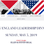 Promotion of recent New England leadership dinner at AIPAC. Partial full screen image from screenshot.