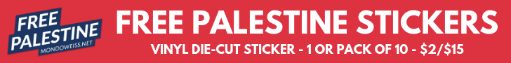 Free Palestine Sticker available in the Mondoweiss store!