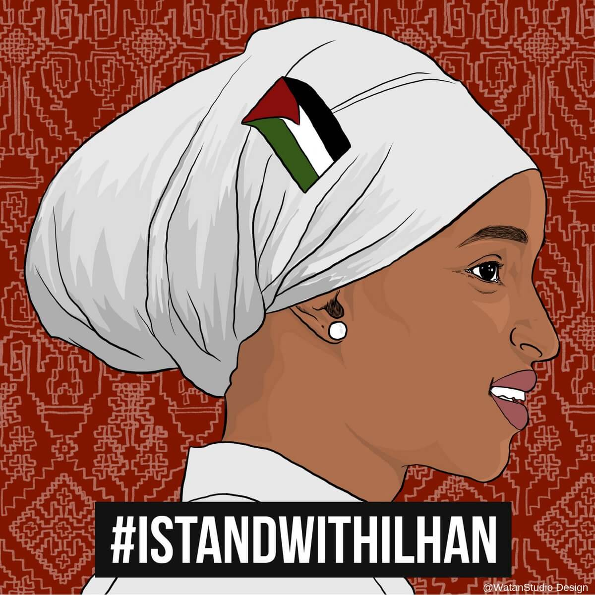 Illustration used to show solidarity with Rep. Ilhan Omar on social media