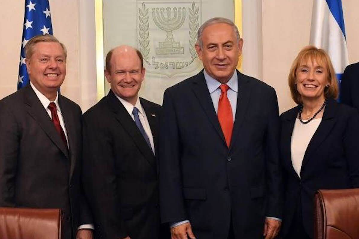 Lindsey Graham, Chris Coons, and Maggie Hassan meet with Benjamin Netanyahu as part of a a bipartisan delegation of senators to Israel in February 2018. (Photo: Israel Government Press Office)