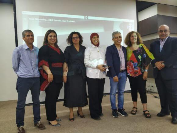 Right to left, Dr. Eyad Othman, Rana Nashashibi, Dr. Mustafa Qasqassi, Dr. Samah Jabr, Manal Abu Haq, Yoad Ghandari, Fathi Flaifel. (Photo: courtesy of the author)