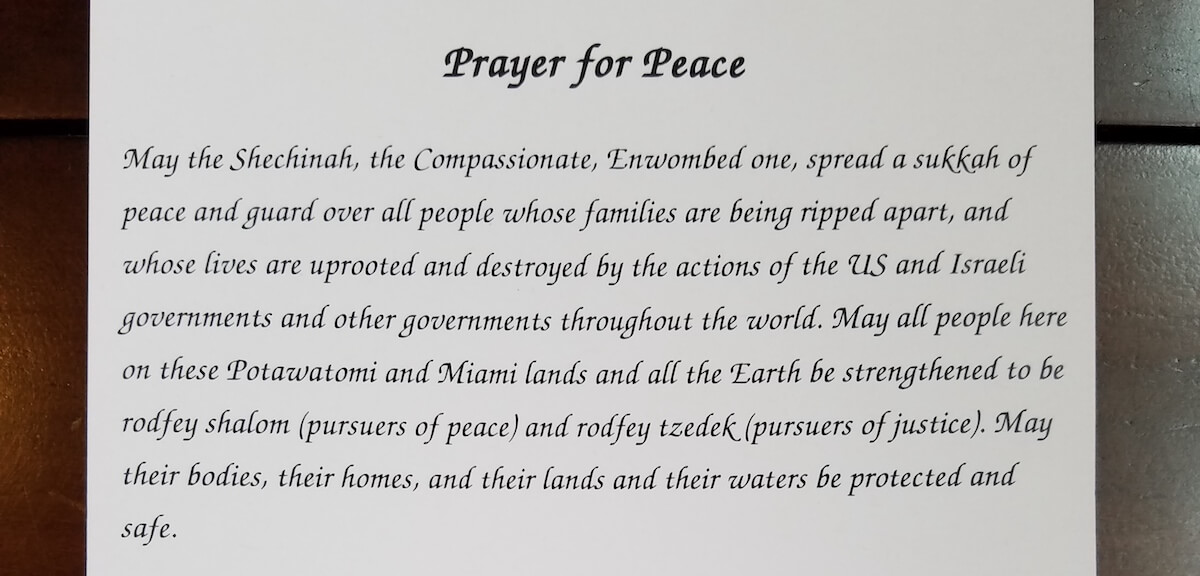 A copy of the Prayer for Peace that Dan Fischer distributed at his synogogue.