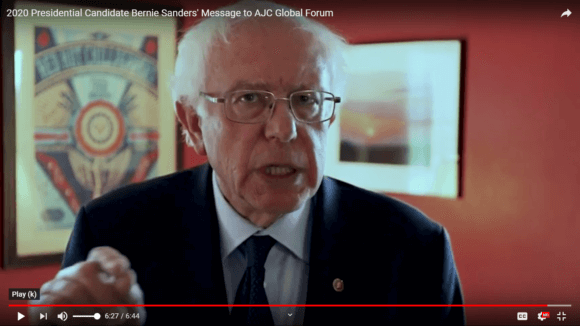 Bernie Sanders in his message to the American Jewish Committee. Screenshot. June 4, 2019.