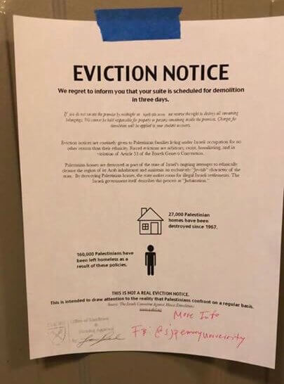 Mock eviction notice posted on the doors of Emory University dorm rooms on April 2, 2019. (Photo: Twitter)