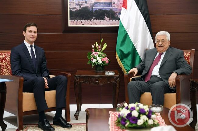 Palestinian President Mahmoud Abbas meets with US President Donald Trump's son-in-law and senior advisor Jared Kushner in the central occupied West Bank city of Ramallah on June 22, 2017. (Photo: Ma'an News)