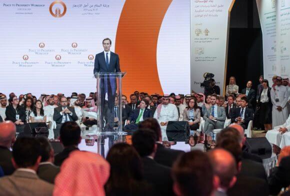 "Jared Kushner speaks at the ""Peace to Prosperity"" workshop in Manama, Bahrain (Photo: AP)"