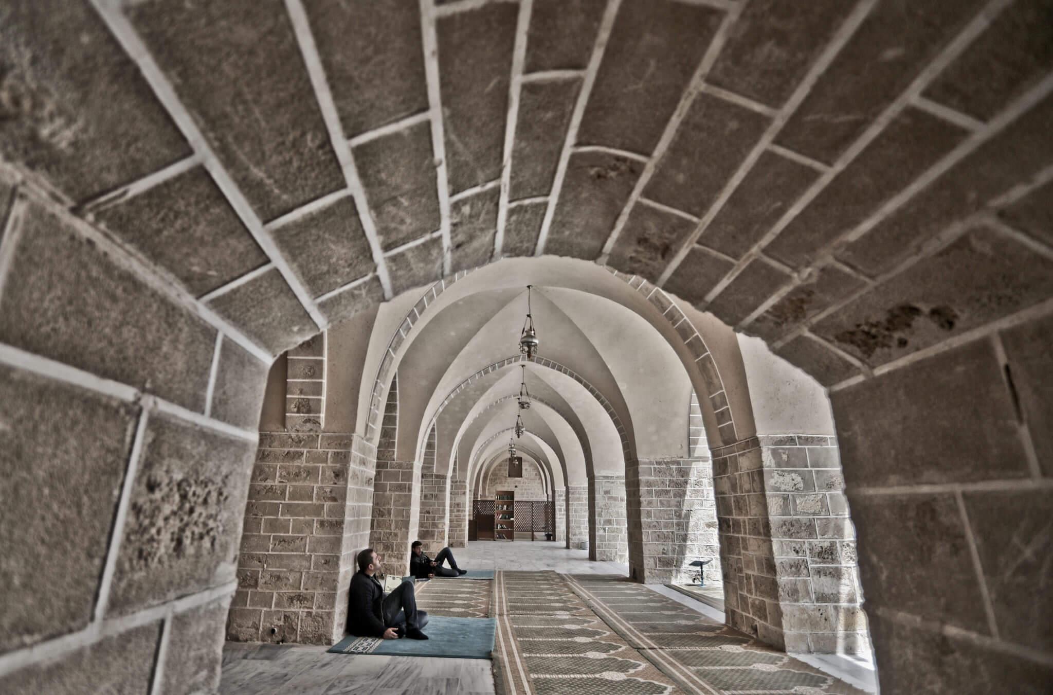 Worshippers in al-Omari mosque