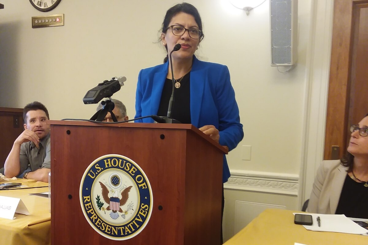 Rep. Rashida Tlaib (D-MI) addressing a briefing organized by American Muslims for Palestine, July 25, 2019. (Photo: Josh Ruebner)