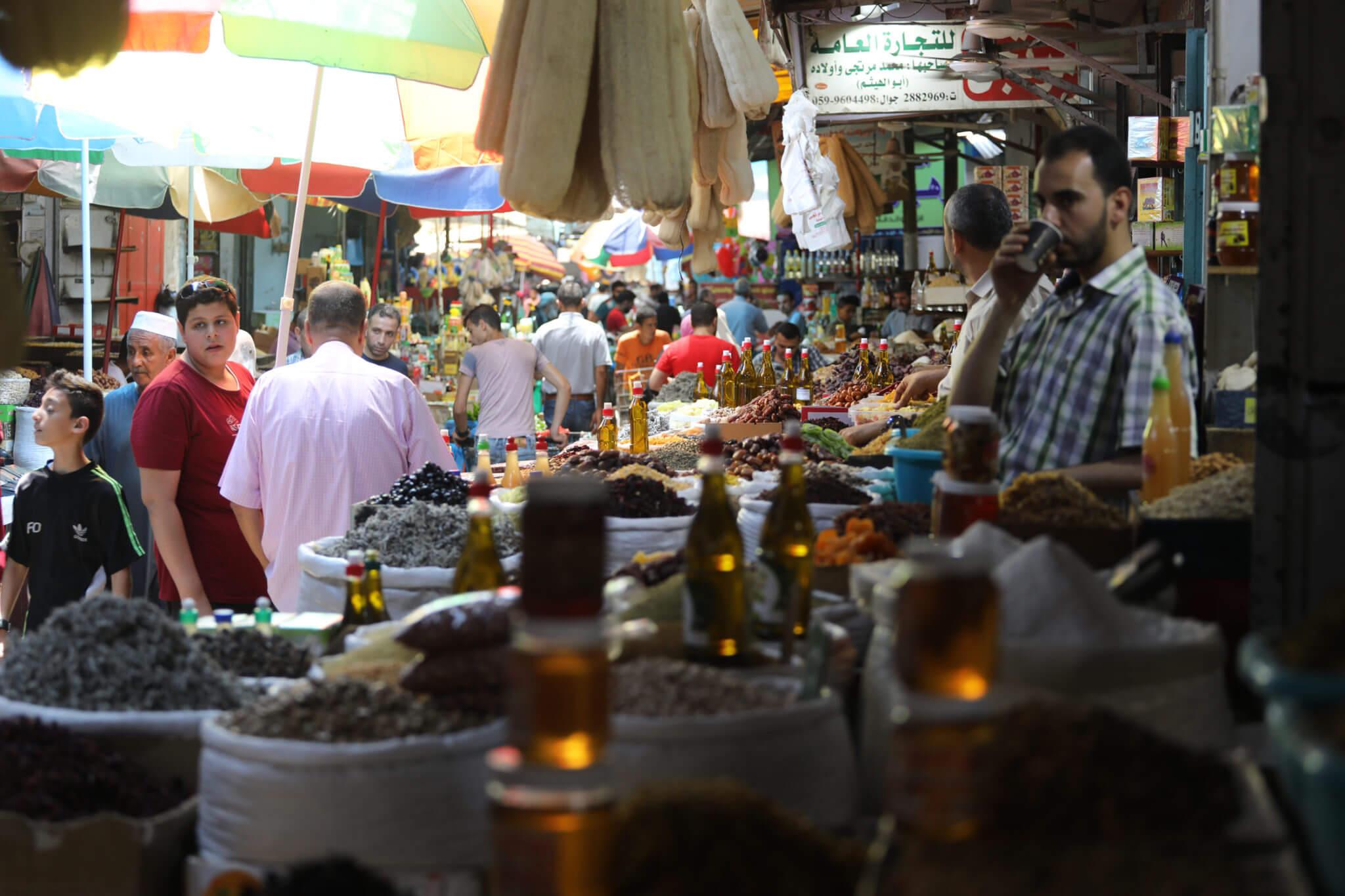 Shoppers in Zawya, Gaza's old traditional street market.