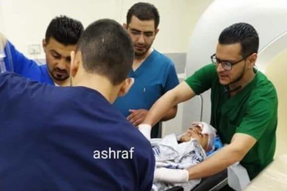 10-year-old Palestinian boy undergoing surgery in Rafidia hospital, Nablus (Photo via International Solidarity Movement)