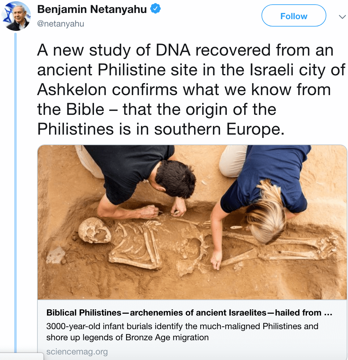 Archaeologists on Twitter tear down Netanyahu's claims that