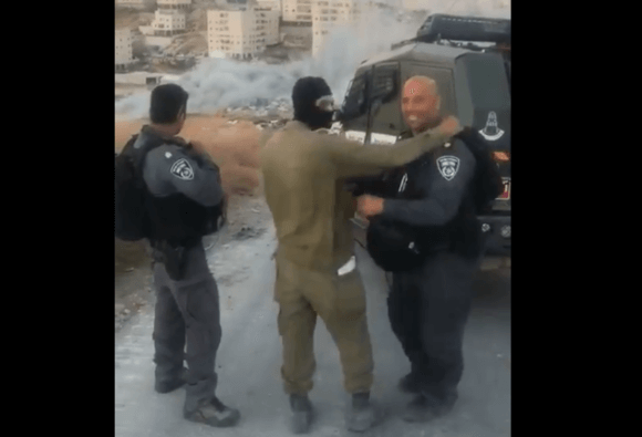 Video of Israeli forces celebrating blowing up Palestinian house, occupied East Jerusalem, July 22, 2019. Screenshot.