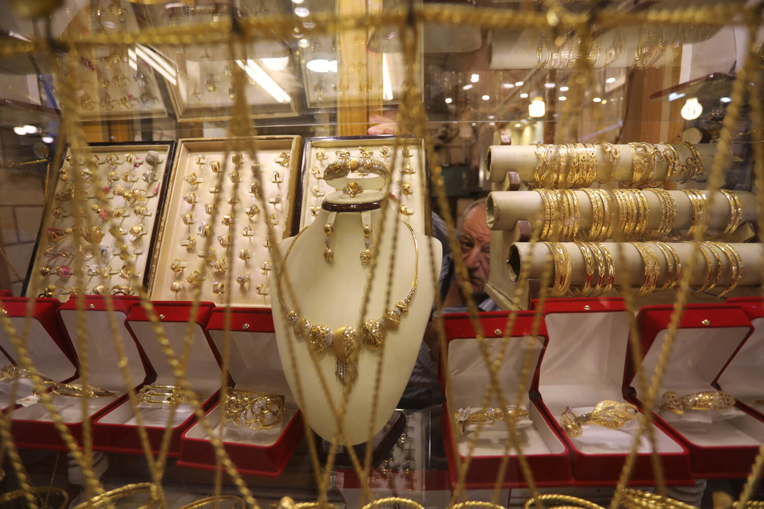 Jewelry on display in a gold shop in Gaza City's gold market. (Photo: Mohammed Asad)