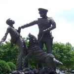 """Bull Connor's Dogs,"" a statue outside the Birmingham Civil Rights Institute."