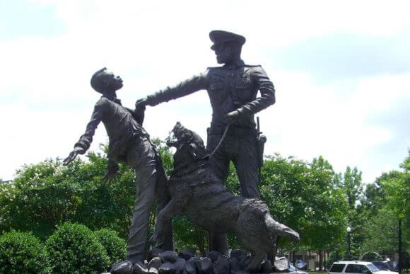 """Bull Connor's Dogs,"" a statue outside the Birmingham Civil Rights Institute."