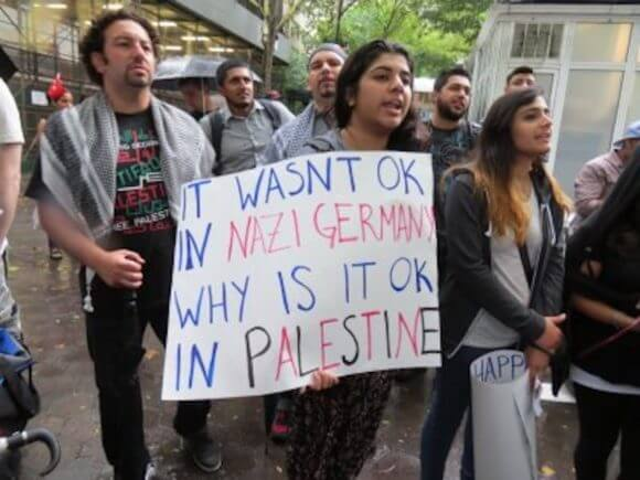 Protest in New York city against Israeli attacks on Gaza in July 2014