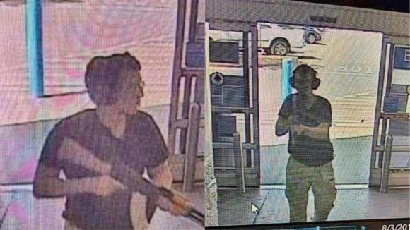 CCTV images of the gunman identified as Patrick Crusius, 21, as he entered the Cielo Vista Walmart store in El Paso, YX. Crusius was armed with an assault rifle and opened fire on shoppers, killing 20.