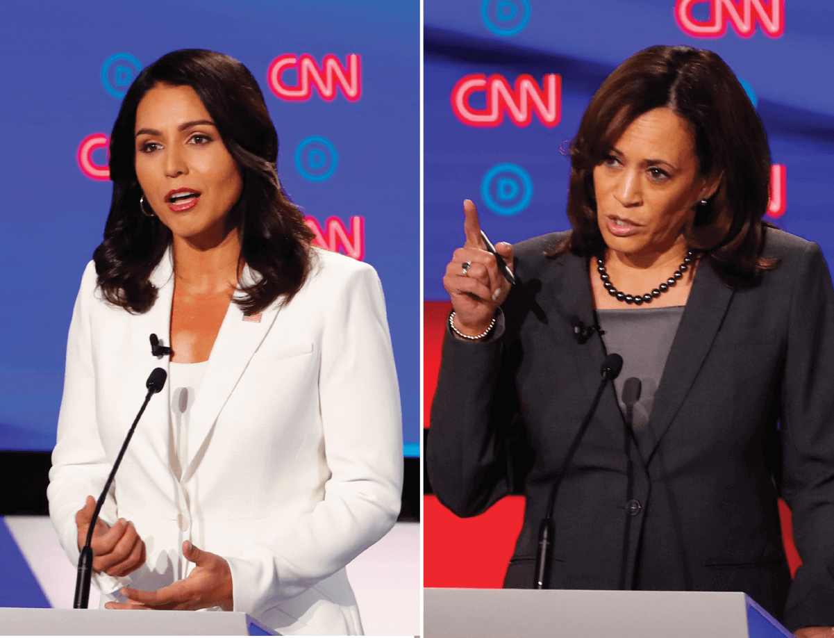 Side by side images of Tulsi Gabbard and Kamala Harris at July 31 debate in Detroit. AP images.
