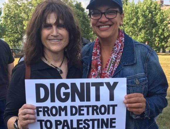 Rep Rashida Tlaib at a Shabbat service in a Detroit park arranged by Jewish Voice For Peace Action after she was denied entrance to Israel.