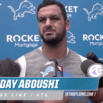 Oday Aboushi addresses the media at Detroit Lions training camp (Screenshot via detroitlions.com)