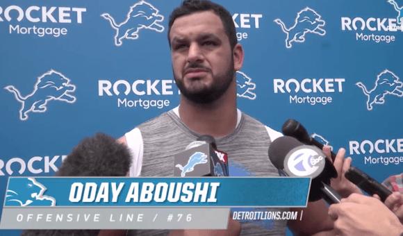 Oday Aboushi addresses the media at Detroit Lions training camp (Screenshot via detroitlions.com)