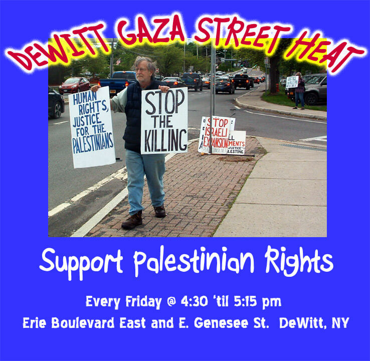 Image used to promote the DeWitt, NY protest, featuring Ed Kinane.