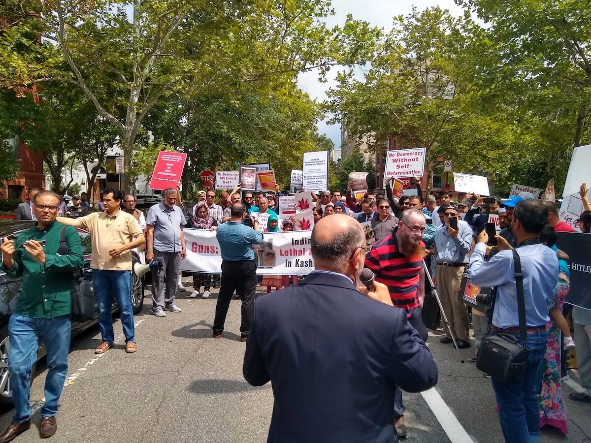 American Muslims for Palestine joined the U.S. Council of Muslim Organizations to hold a demonstration for Kashmiri sovereignty in front of the Indian Embassy in Washington D.C., August 16, 2019.