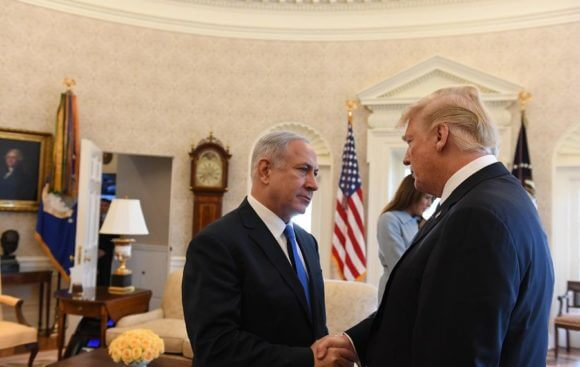 Israeli Prime Minister Benjamin Netanyahu with President Donald Trump in the Oval Office of the White House, Washington DC, March 5, 2018. (Photo: Haim Zach/GPO)