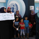 Palestinian owners of houses that were destroyed during the 2014 war between Israel and Hamas take part in a protest in front of UNRWA headquarters, in Gaza City, on May 8, 2019. (Photo: Mahmoud Ajjour/APA Images)