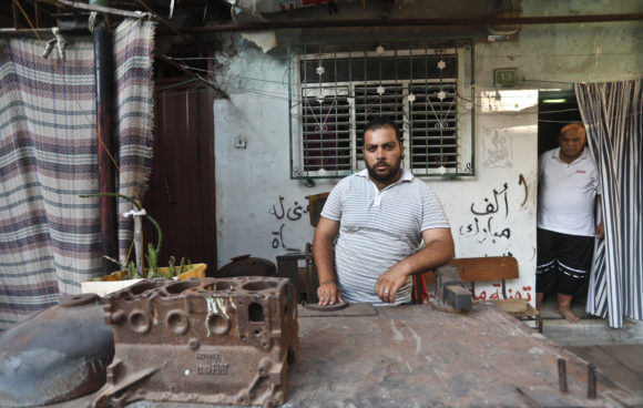 Ismail Sadi, a Palestinian blacksmith, was sentenced to prison for not being able to pay back a loan he took out before getting married, in the Gaza Strip, August 1, 2019. (Photo: Mohammed Assad)