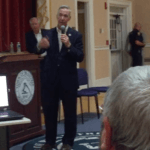 Rep. Lynch addresses question at town hall in Braintree, MA on August 22. (Credit: Jill Charney)