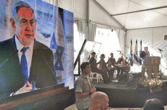 Netanyahu speaks at ceremony in Hebron on September 4th, 2019 (photo: Twitter)